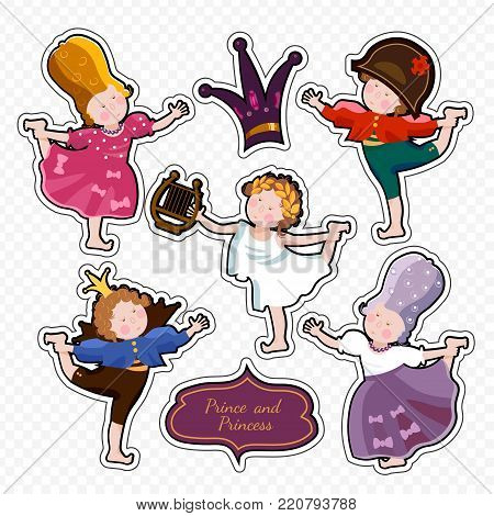 Funny kids playing prince and princess children's theater cartoon, stickers vector