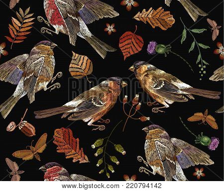 Classical september embroidery autumn leaves, bullfinch and titmouse. Embroidery autumn and birds seamless pattern. Fashionable template for design of clothes, t-shirt design