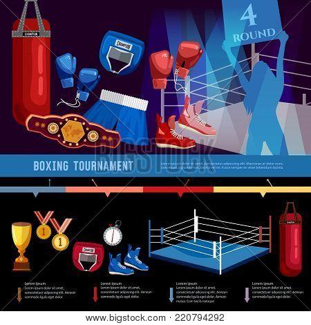 Boxing, professional sport infographics. Boxer, ring, belt, punch bags, gloves, shorts, helmet