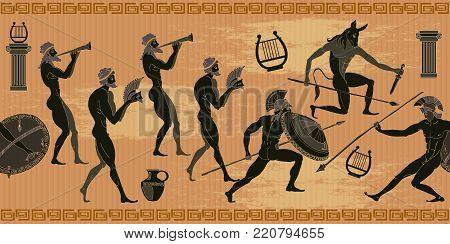 Ancient Greece seamless pattern. Black figure pottery. Hunting for a Minotaur, gods, fighter pattern amphoraancient greeceancient greek designancient romeancient symbolsantiqueantiquityarcheologyartathensathletebackgroundbullceramiccivilizationclassicclas