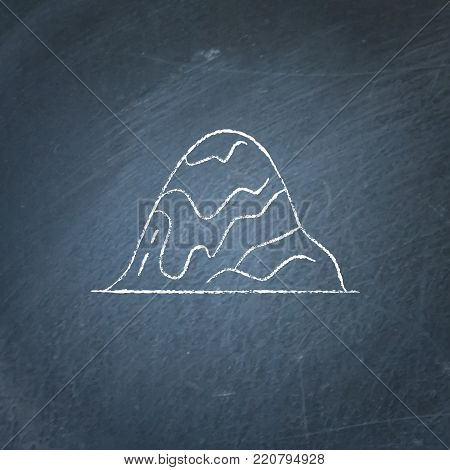 Rounded hill icon on chalkboard. Outline mountain symbol - chalk drawing on blackboard.