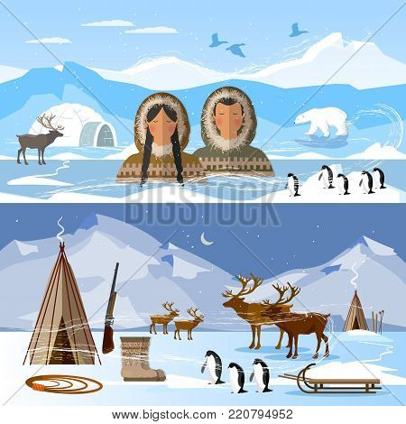 Wild north arctic people in traditional eskimos costume and arctic animals. Reindeer, polar day and polar night. Extreme journey to Alaska. Life in the far north