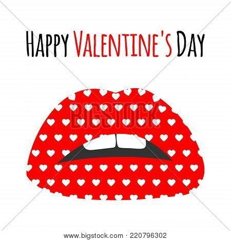 Red Lips With Pattern Print Of White Hearts. Happy Valentine's Day Lettering Text Card, Background,