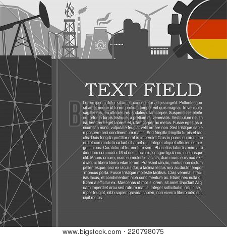 Energy and Power icons set. Sustainable energy generation and heavy industry. Field for text. Modern brochure, report or leaflet design template. Flag of Germany in gear