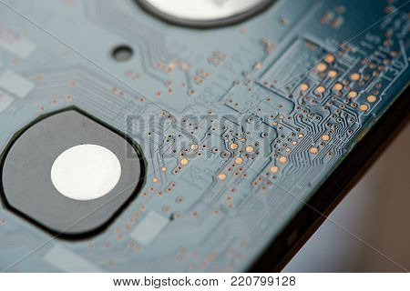 Electronic circuit board close up. Digital part of electric device