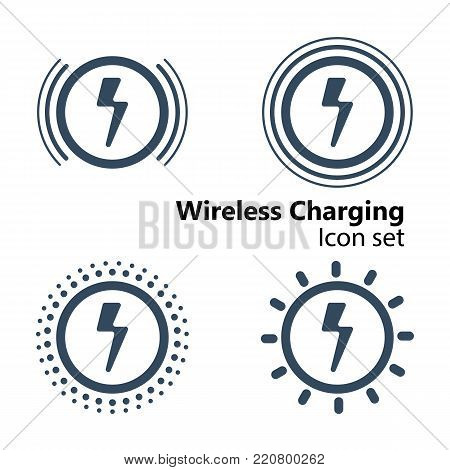 Circle Wireless Charging Icon set, vector illustration