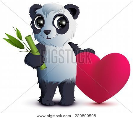 Valentines Day. Bear panda holds stalk of bamboo and red heart. Isolated on white vector cartoon illustration