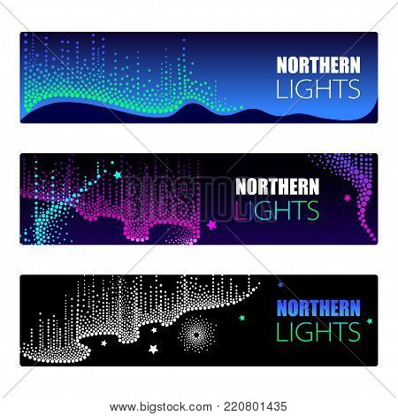 Vector horizontal template with dotted swirls of color northern or polar light on the Polar sky. Aurora borealis lights in dotwork style on the night background for arctic space or galaxy design.