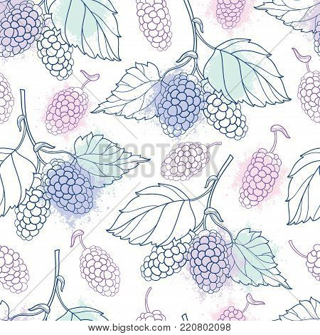 Vector seamless pattern with outline Mulberry or Morus bunch with berry and leaf in pastel color on the white background. Floral pattern with contour Mulberry fruit for summer design.