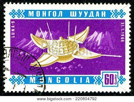 Ukraine - circa 2018: A postage stamp printed in Mongolia shows Soviet artificial Earth satellite Luna 9. Series: Space satellites. Circa 1966.