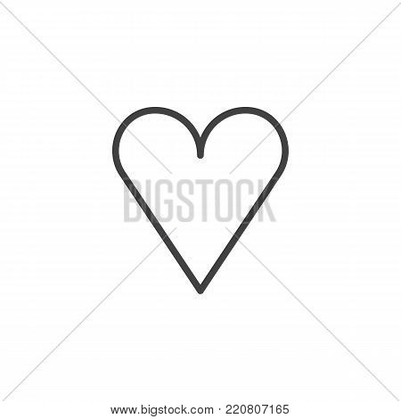 Heart line icon, outline vector sign, linear style pictogram isolated on white. Favorite love symbol, logo illustration. Editable stroke
