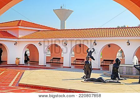 CAESAREA, ISRAEL - SEPTEMBER 18, 2017: Inside yard of Ralli museum for classical art, Caesarea, Israel. Ralli Museums own the most important collection in the world of contemporary Latin-American art by living artists