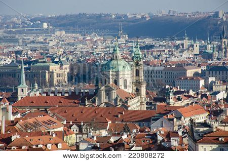 St Nicolas Church Prague from Petrin Hill