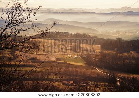 Fields, hills and forests of central Serbia, the beginning of winter.