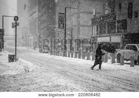 NEW YORK-JANUARY 4: A snow filled street scene during the