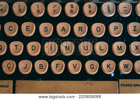 Close up of the letter keys on an old typewriter