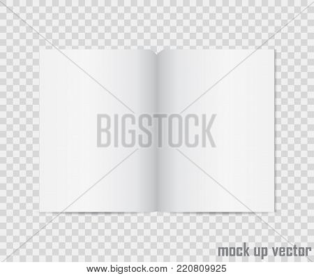 Open book mock up isolated on transparent background. Realistic blank vertical booklet, catalog template, magazine, brochure or notebook mockup for your design.