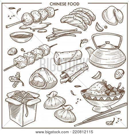 Delicious nutritious cheese food. Bakery products, noodles in cardboard box, canapes on sticks, dish with rice and chopsticks isolated cartoon flat sketchy monochrome vector illustrations set.