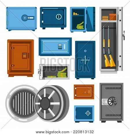 Armored solid metal safes with secure mechanic locks of rectangular and round shapes full of money piles and dangerous guns isolated cartoon flat vector illustrations set on white background.
