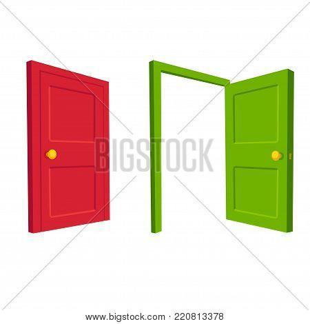 Green open door and red closed door, isolated cartoon vector illustration.