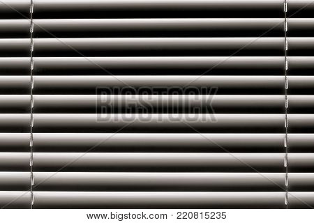 white horizontal blinds on the window create a rhythm