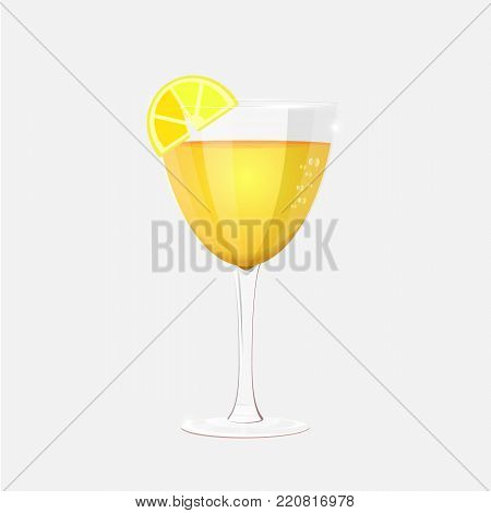Vector stemware and glasses with cocktail. realistic, style