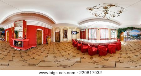 GRODNO, BELARUS - SEPTEMBER 18, 2014: Full 360 degree panorama in equirectangular spherical projection in stylish dinning room with fireplace. Photorealistic VR content