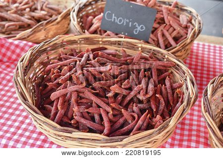 Homemade sausages chorizo for sale at a market