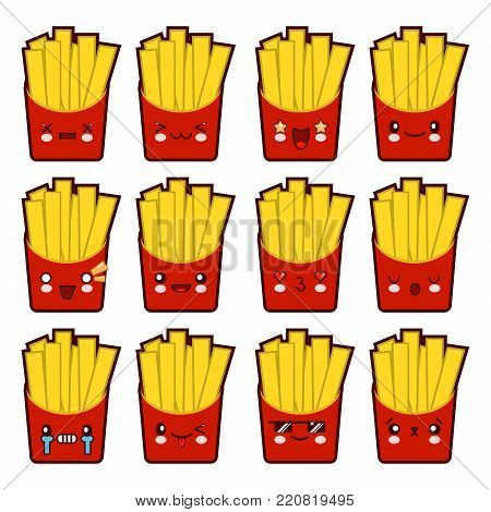 Emoji emoticon french fries with a lot of variation Set of kawaii face french fries emoticons. Isolated on white background. Flat design  Illustration EPS