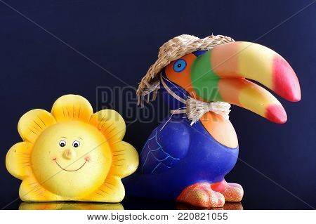 toucan and flower ceramics objects art isolated