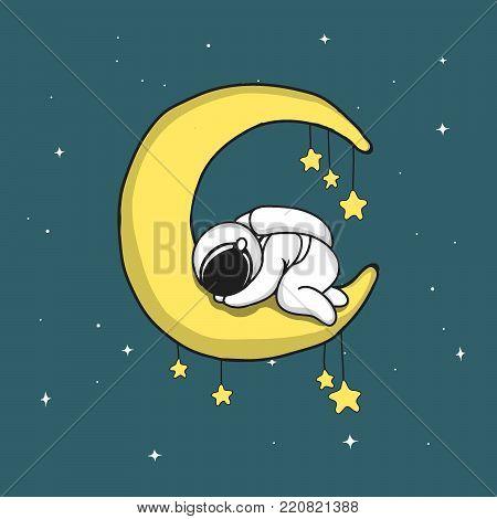 Baby astronaut sleeps on crescent moon.Childish vector illustration
