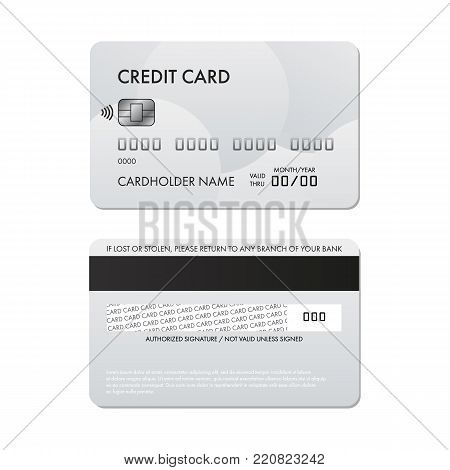 Vector realistic plastic credit card template, back and front.