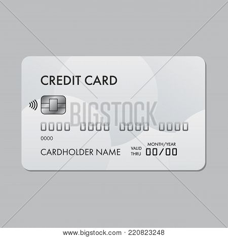 Realistic plastic credit card template with paypass technology.