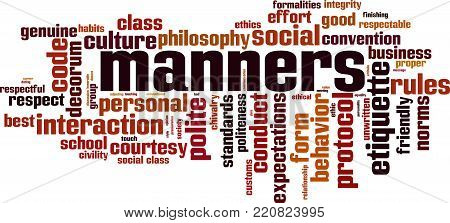 Manners word cloud concept. Vector illustration on white