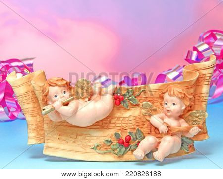 baby born for invitation card of colorful background.