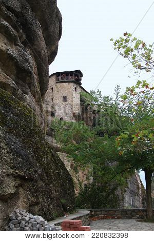 METEORA, GREECE - SEPTEMBER 18, 2012: The monastery of Varlaam is one of the operating monasteries, which is located on the top of the rocks of Meteora.