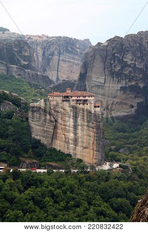 METEORA, GREECE - SEPTEMBER 18, 2012: The monastery Moni Agias Varvaras Rousanou is one of the operating monasteries, which is located on the top of the rocks of Meteora.
