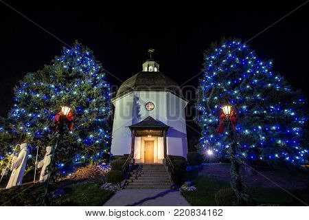 Frankenmuth, Michigan, USA - April 17, 2016: The Silent Night Memorial Chapel is a replica of the St. Nicholas church in Oberndorf, Austria where the carol Silent Night was originally composed.