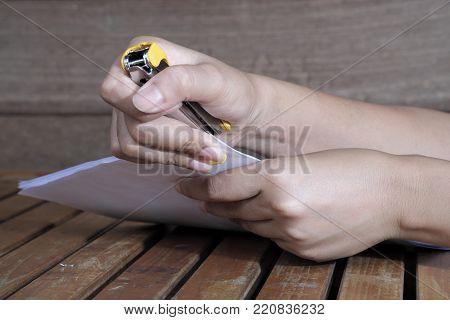 Stapler For Binding Sheets Of Paper.