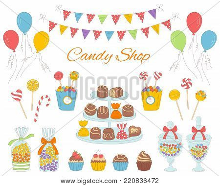 Vector illustration of candy shop with colorful sweets, candies in glass jars, lollipops, sweetmeats, assorted chocolates, cupcakes, air balloons and bunting flags.