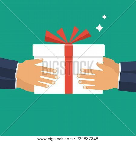 Give gift. Man holds white gift box with a red ribbon in hands. Giving, receiving surprise. Vector illustration flat design. Delivery of gifts for holiday. Isolated on background.