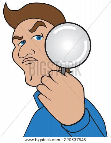 A cartoon man with a magnifying glass is taking a closer look