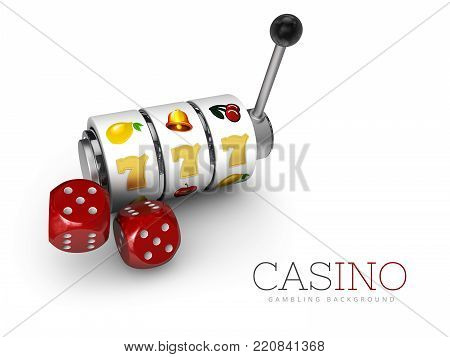 3d Illustration of Slot machine with lucky sevens jackpot and dices.