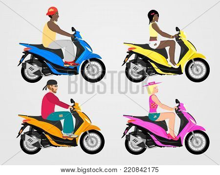 Scooter band set. Flat style. Different colors.