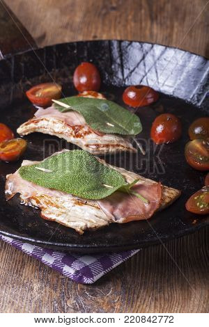 Saltimbocca Alla Romana In An Iron Pan