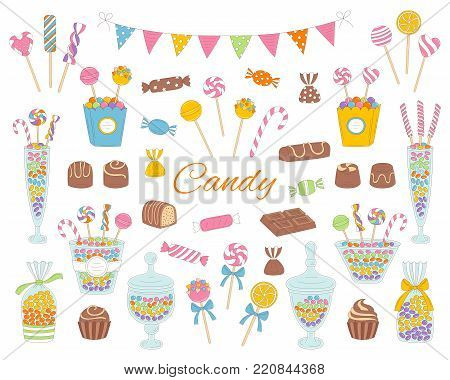 Candy set vector hand drawn doodle illustration. Different kinds of colorful sweets, candies, lollipops, sweetmeats, chocolates, glass candy jars, isolated on white background. poster