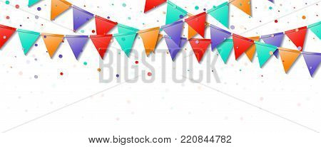 Bunting Flags Garland. Favorable Celebration Card. Bright Holiday Decorations And Confetti. Bunting
