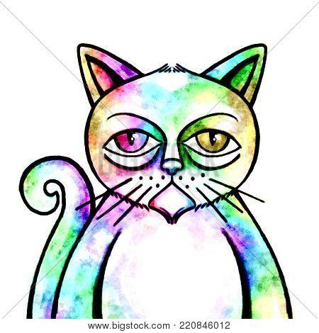 A grumpy looking grunge style cat portrait.