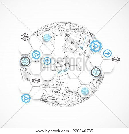Abstract Technology Globe Background.