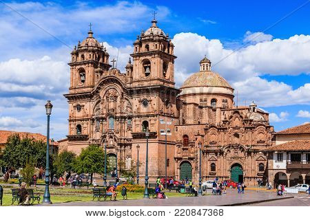 CUSCO, PERU - 24 APRIL 2017: Cusco, Peru - Plaza de Armas and Church of the Society of Jesus.